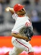 June 25, 2013; San Diego, CA, USA; Philadelphia Phillies relief pitcher Antonio Bastardo (59) throws during the ninth inning against the San Diego Padres at Petco Park. Mandatory Credit: Christopher Hanewinckel-USA TODAY Sports