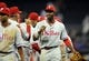 June 25, 2013; San Diego, CA, USA; Philadelphia Phillies left fielder Domonic Brown (9) celebrates with teammates after a 6-2 win against the San Diego Padres at Petco Park. Mandatory Credit: Christopher Hanewinckel-USA TODAY Sports