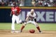 Jun 28, 2013; Atlanta, GA, USA; Arizona Diamondbacks right fielder Cody Ross (7) reacts after being called out against the Atlanta Braves in the second inning at Turner Field. Mandatory Credit: Brett Davis-USA TODAY Sports