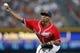 Jun 28, 2013; Atlanta, GA, USA; Atlanta Braves starting pitcher Julio Teheran (49) throws a pitch against the Arizona Diamondbacks in the third inning at Turner Field. Mandatory Credit: Brett Davis-USA TODAY Sports