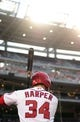 Jul 1, 2013; Washington, DC, USA; Washington Nationals outfielder Bryce Harper (34) warms up on deck during the game against the Milwaukee Brewers at Nationals Park. Mandatory Credit: Evan Habeeb-USA TODAY Sports