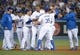 Jun 29, 2013; Los Angeles, CA, USA; Los Angeles Dodgers catcher A.J. Ellis (right) celebrates is hoisted by teammates Jerry Hairston Jr. (6), Nick Punto (7), Mark Ellis (14), Kenley Jansen (74), Chris Capuano (35) and Clayton Kershaw (right) after hitting a walk-off single in the ninth inning against the Philadelphia Phillies at Dodger Stadium. The Dodgers defeated the Phillies 4-3. Mandatory Credit: Kirby Lee-USA TODAY Sports