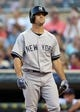 Jul 2, 2013; Minneapolis, MN, USA; New York Yankees center fielder Brett Gardner (11) looks on after striking out in the fourth inning against the Minnesota Twins at Target Field. Mandatory Credit: Jesse Johnson-USA TODAY Sports