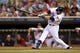 Jul 2, 2013; Minneapolis, MN, USA; Minnesota Twins designated hitter Ryan Doumit (9) hits a single in the fifth inning against the New York Yankees at Target Field. Mandatory Credit: Jesse Johnson-USA TODAY Sports