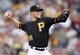 Jul 2, 2013; Pittsburgh, PA, USA; Pittsburgh Pirates starting pitcher Brandon Cumpton (58) delivers a pitch against the Philadelphia Phillies during the fourtt inning at PNC Park. The Philadelphia Phillies won 3-1. Mandatory Credit: Charles LeClaire-USA TODAY Sports