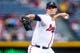 Jul 3, 2013; Atlanta, GA, USA; Atlanta Braves starting pitcher Mike Minor (36) pitches in the first inning against the Miami Marlins at Turner Field. Mandatory Credit: Daniel Shirey-USA TODAY Sports