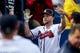 Jul 3, 2013; Atlanta, GA, USA; Atlanta Braves catcher Brian McCann (16) celebrates a home run in the fourth inning against the Miami Marlins at Turner Field. Mandatory Credit: Daniel Shirey-USA TODAY Sports