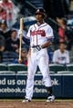 Jul 3, 2013; Atlanta, GA, USA; Atlanta Braves center fielder B.J. Upton (2) reacts to a strike out in the ninth inning against the Miami Marlins at Turner Field. Mandatory Credit: Daniel Shirey-USA TODAY Sports