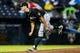 Jul 3, 2013; Atlanta, GA, USA; Miami Marlins relief pitcher Steve Cishek (31) pitches in the ninth inning against the Miami Marlins at Turner Field. The Marlins won 6-3. Mandatory Credit: Daniel Shirey-USA TODAY Sports