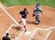 Jul 4, 2013; Washington, DC, USA; Washington Nationals outfielder Bryce Harper (34) scores a run in the first inning against the Milwaukee Brewers at Nationals Park. Mandatory Credit: Evan Habeeb-USA TODAY Sports