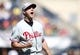 Jul 4, 2013; Pittsburgh, PA, USA; Philadelphia Phillies relief pitcher Jonathan Papelbon (58) reacts after the final out against the Pittsburgh Pirates during the ninth inning at PNC Park. The Philadelphia Phillies won 6-4. Mandatory Credit: Charles LeClaire-USA TODAY Sports