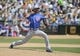 Jul 4, 2013; Oakland, CA, USA; Chicago Cubs relief pitcher Matt Guerrier (51) pitches the ball against the Oakland Athletics during the seventh inning at O.co Coliseum. Mandatory Credit: Kelley L Cox-USA TODAY Sports