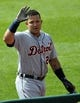Jul 6, 2013; Cleveland, OH, USA; Detroit Tigers third baseman Miguel Cabrera (24) celebrates his two-run home run in the third inning against the Cleveland Indians at Progressive Field. Mandatory Credit: David Richard-USA TODAY Sports