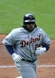 Jul 6, 2013; Cleveland, OH, USA; Detroit Tigers first baseman Prince Fielder (28) celebrates his solo home run in the third inning against the Cleveland Indians at Progressive Field. Mandatory Credit: David Richard-USA TODAY Sports