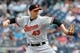 Jul 7, 2013; Bronx, NY, USA;   Baltimore Orioles relief pitcher Jim Johnson (43) pitches during the ninth inning against the New York Yankees at Yankee Stadium. Baltimore Orioles won 2-1.  Mandatory Credit: Anthony Gruppuso-USA TODAY Sports