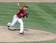 Jul 7, 2013; Washington, DC, USA; Washington Nationals relief pitcher Drew Storen (22) throws during the eighth inning against the San Diego Padres at Nationals Park. Mandatory Credit: Brad Mills-USA TODAY Sports