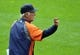 Jul 7, 2013; Cleveland, OH, USA; Detroit Tigers manager Jim Leyland (10) makes a call to the bullpen in the eighth inning against the Cleveland Indians at Progressive Field. Mandatory Credit: David Richard-USA TODAY Sports