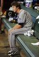 Jul 7, 2013; Phoenix, AZ, USA; Colorado Rockies outfielder Corey Dickerson (6) sits inside the dugout in the fifth inning during a game against the Arizona Diamondbacks at Chase Field. Mandatory Credit: Jennifer Hilderbrand-USA TODAY Sports