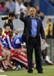 Jul 7, 2013; Carson, CA, USA; FC Dallas head coach Schellas Hyndman yells during the game against the Los Angeles Galaxy during the first half at the StubHub Center. Mandatory Credit: Kelvin Kuo-USA TODAY Sports