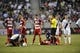 Jul 7, 2013; Carson, CA, USA; Los Angeles Galaxy midfielder Juninho (left) and FC Dallas midfielder David Ferreira (right) lie on the ground after colliding with each other during the first half at the StubHub Center. Mandatory Credit: Kelvin Kuo-USA TODAY Sports