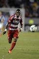 Jul 7, 2013; Carson, CA, USA; FC Dallas forward Fabian Castillo (11) attempts to run down a pass against the Los Angeles Galaxy during the first half at the StubHub Center. Mandatory Credit: Kelvin Kuo-USA TODAY Sports