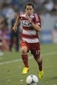 Jul 7, 2013; Carson, CA, USA; FC Dallas defender Zach Loyd (17) runs down the field during the game against the Los Angeles Galaxy during the first half at the StubHub Center. Mandatory Credit: Kelvin Kuo-USA TODAY Sports