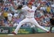 Jul 8, 2013; Philadelphia, PA, USA; Philadelphia Phillies starting pitcher John Lannan (27) throws a pitch in the first inning against the Washington Nationals at Citizens Bank Park. Mandatory Credit: Eric Hartline-USA TODAY Sports