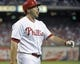 Jul 8, 2013; Philadelphia, PA, USA; Philadelphia Phillies left fielder Darin Ruf (18) reacts after striking out in the third inning against the Washington Nationals at Citizens Bank Park. The Phillies defeated the Nationals, 3-2. Mandatory Credit: Eric Hartline-USA TODAY Sports