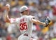 Jul 4, 2013; Pittsburgh, PA, USA; Philadelphia Phillies starting pitcher Cole Hamels (35) pitches against the Pittsburgh Pirates during the fourth inning at PNC Park. The Philadelphia Phillies won 6-4.Mandatory Credit: Charles LeClaire-USA TODAY Sports