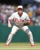 Jul 4, 2013; Pittsburgh, PA, USA; Philadelphia Phillies third baseman John McDonald (4) in the field against the Pittsburgh Pirates during the ninth inning at PNC Park. The Philadelphia Phillies won 6-4. Mandatory Credit: Charles LeClaire-USA TODAY Sports