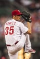 Jul 9, 2013; Philadelphia, PA, USA; Philadelphia Phillies pitcher Cole Hamels (35) delivers to the plate during the third inning against the Washington Nationals at Citizens Bank Park. The Phillies defeated the Nationals 4-2. Mandatory Credit: Howard Smith-USA TODAY Sports