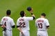 Jul 8, 2013; Cleveland, OH, USA; Cleveland Indians shortstop Mike Aviles (4), second baseman Jason Kipnis (22) and designated hitter Asdrubal Cabrera (13) during the national anthem before a game against the Detroit Tigers at Progressive Field. Detroit won 4-2. Mandatory Credit: David Richard-USA TODAY Sports