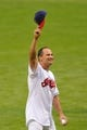 Jul 8, 2013; Cleveland, OH, USA; Cleveland Indians former shortstop Omar Vizquel before a game against the Detroit Tigers at Progressive Field. Detroit won 4-2. Mandatory Credit: David Richard-USA TODAY Sports