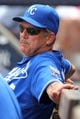 Jul 11, 2013; Bronx, NY, USA; Kansas City Royals hitting coach George Brett (5) in the dugout during the second inning of a game against the New York Yankees at Yankee Stadium. Mandatory Credit: Brad Penner-USA TODAY Sports