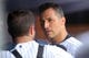 Jul 11, 2013; Bronx, NY, USA; New York Yankees starting pitcher Andy Pettitte (46) talks with catcher Austin Romine (53) in the dugout during the fourth inning of a game against the Kansas City Royals at Yankee Stadium. Mandatory Credit: Brad Penner-USA TODAY Sports