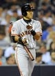 Jul 11, 2013; San Diego, CA, USA; San Francisco Giants left fielder Kensuke Tanaka (37) prior to his at bat during the sixth inning against the San Diego Padres at Petco Park. Mandatory Credit: Christopher Hanewinckel-USA TODAY Sports