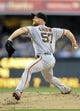 Jul 12, 2013; San Diego, CA, USA; San Francisco Giants starting pitcher Chad Gaudin (57) throws during the first inning against the San Diego Padres at Petco Park. Mandatory Credit: Christopher Hanewinckel-USA TODAY Sports
