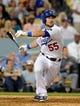 Jul 12, 2013; Los Angeles, CA, USA;  Los Angeles Dodgers left fielder Skip Schumaker (55) at bat during the game against the Colorado Rockies at Dodger Stadium.Mandatory Credit: Jayne Kamin-Oncea-USA TODAY Sports