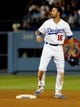 Jul 12, 2013; Los Angeles, CA, USA;  Los Angeles Dodgers right fielder Andre Ethier (16) at second after he was thrown out in the seventh inning of the game against the Colorado Rockies at Dodger Stadium.Mandatory Credit: Jayne Kamin-Oncea-USA TODAY Sports