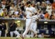Jul 12, 2013; San Diego, CA, USA; San Francisco Giants shortstop Brandon Crawford (35) scores during the seventh inning against the San Diego Padres at Petco Park. Mandatory Credit: Christopher Hanewinckel-USA TODAY Sports