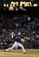 Jul 12, 2013; Oakland, CA, USA; Boston Red Sox relief pitcher Koji Uehara (19) pitches the ball against the Oakland Athletics during the ninth inning at O.co Coliseum. The Boston Red Sox defeated the Oakland Athletics 4-2. Mandatory Credit: Kelley L Cox-USA TODAY Sports