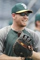 Jul 9, 2013; Pittsburgh, PA, USA; Oakland Athletics first baseman Brandon Moss (37) reacts on the field before playing the Pittsburgh Pirates at PNC Park. The Oakland Athletics won 2-1. Mandatory Credit: Charles LeClaire-USA TODAY Sports