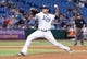 Jul 5, 2013; St. Petersburg, FL, USA; Tampa Bay Rays relief pitcher Cesar Ramos (27) throws a pitch against the Chicago White Sox at Tropicana Field. Tampa Bay Rays defeated the Chicago White Sox 8-3. Mandatory Credit: Kim Klement-USA TODAY Sports