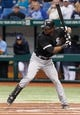 Jul 5, 2013; St. Petersburg, FL, USA; Chicago White Sox center fielder Alejandro De Aza (30) at bat against the Tampa Bay Rays at Tropicana Field. Mandatory Credit: Kim Klement-USA TODAY Sports