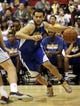 Jul 13, 2013; Las Vegas, NV, USA; Golden State Warriors guard Cameron Jones dribbles the ball during the first quarter of Summer League play against the Washington Wizards at the Cox Pavillion. Mandatory Credit: Stephen R. Sylvanie-USA TODAY Sports