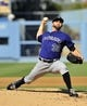 July 13, 2013; Los Angeles, CA, USA; Colorado Rockies starting pitcher Tyler Chatwood (32) pitches during the second inning against the Los Angeles Dodgers at Dodger Stadium. Mandatory Credit: Gary A. Vasquez-USA TODAY Sports