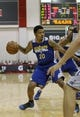 Jul 13, 2013; Las Vegas, NV, USA; Golden State Warriors forward Kent Bazemore dribbles the ball during the first quarter of an NBA Summer League game against the Washington Wizards at Cox Pavillion. Mandatory Credit: Stephen R. Sylvanie-USA TODAY Sports