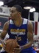 Jul 13, 2013; Las Vegas, NV, USA; Golden State Warriors forward Lance Gilbourne handles the ball during an NBA Summer League game against the Washington Wizards at Cox Pavillion. Mandatory Credit: Stephen R. Sylvanie-USA TODAY Sports