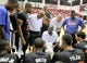 Jul 14, 2013; Las Vegas, NV, USA; New York Nicks head coach Mike Woodson addresses his team during a timeout from play against the Washington Wizards during an NBA Summer League game at Cox Pavillion . Mandatory Credit: Stephen R. Sylvanie-USA TODAY Sports