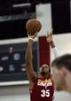Jul 14, 2013; Las Vegas, NV, USA; Cleveland Cavaliers forward Kenny Kadji takes a free throw attempt against the Memphis Grizzlies during the second half of an NBA Summer League game at Cox Pavillion. Cleveland won the game 69-58. Mandatory Credit: Stephen R. Sylvanie-USA TODAY Sports